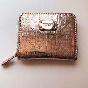 NWT Rose gold Michael Kors MK mini wallet